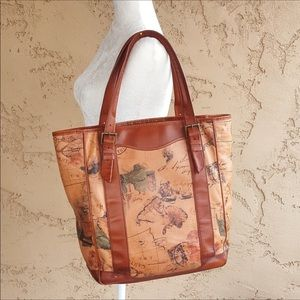 Day-Timer - Vintage  Map Leather Tote